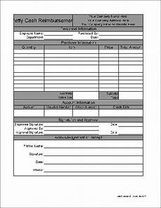Cash Reimbursement Form Free Personalized Petty Cash Reimbursement From Formville