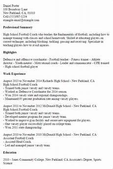 High School On Resume 1 High School Football Coach Resume Templates Try Them