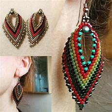 russian leaf earring beadwork kit with miyuki delicas