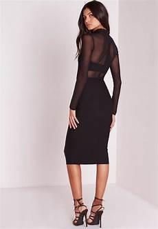 mesh sleeve dress lyst missguided sleeve mesh midi dress black