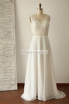 a line v back beaded lace chiffon bridal dress with small