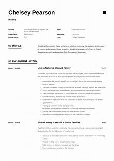 Resume Nanny Sample Nanny Resume Amp Writing Guide 12 Template Samples Pdf