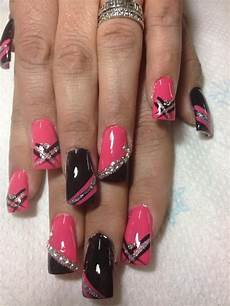 Black White And Pink Nail Designs Pink Black Silver Nails Black Nail Designs Nails Nail