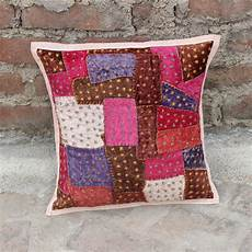 patchwork boho pillow indian cushion cover embroidered
