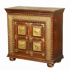 classic solid wood brass accent storage cabinet small