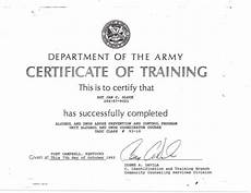 Army Certificates Of Training Unit Alcohol And Drug Coordinator Course Certificate 1993