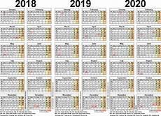 Multi Year Calendar Three Year Calendars For 2018 2019 Amp 2020 Uk For Pdf