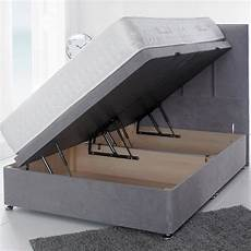 luxurious soft velvet lift up storage ottoman divan bed