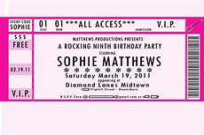 Ticket Invite Template Free Red Owl Rockin Birthday Invitation