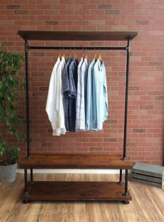 wood clothes rack everyday industrial pipe clothing rack with wood shelf 48 wide