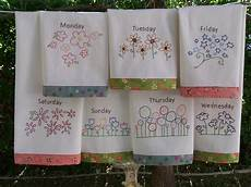 Christmas Tea Towel Embroidery Designs Flower Tea Towels Hand Embroidery Pattern Great In Red Work