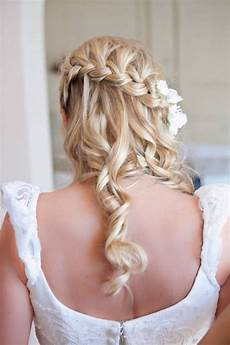 half up half down wedding hairstyle waterfall braid
