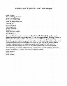 Cover Letter For Site Supervisor Sample Of Cover Letter Administrative Supervisor Cover