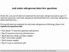 Real Estate Interview Questions Real Estate Salesperson Interview Questions