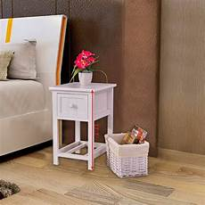 goplus stand 2 layer 1 drawer bedside end table