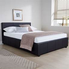 winston side lift ottoman bed black faux leather