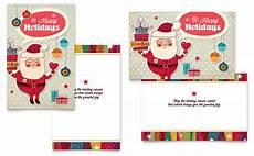 Word Christmas Card Retro Santa Greeting Card Template Word Amp Publisher