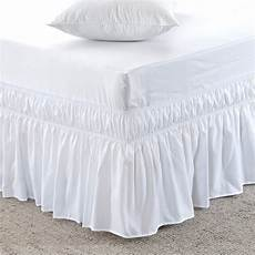 three fabric sides wrap around elastic solid bed skirt 16
