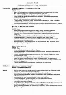 Online Instructor Resume Training Instructor Resume Samples Velvet Jobs