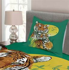 safari quilted bedspread pillow shams set tiger family