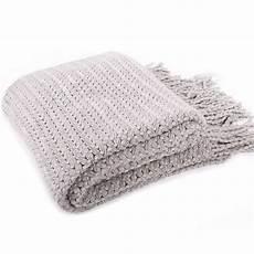 battilo light grey wheat knit tassel throw blanket for