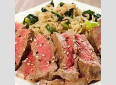 Mirin Marinated Strip Steaks with Scallion Kale Ramen
