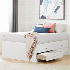 white captain platform size storage bed with 4