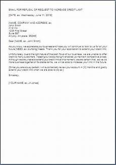 Letter For Increase Credit Limit Credit Limit Refusal Letter