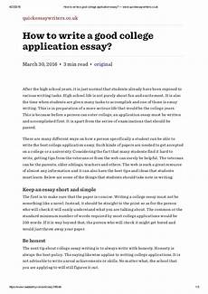 Example Of A College Admission Essay How To Write A Good College Application Essay Www