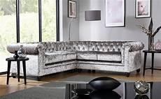 hton silver crushed velvet chesterfield corner sofa