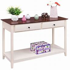 white wood 2 drawer console sofa table with walnut finish