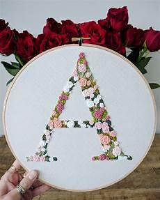 embroidered letter monogram letter floral letter