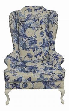 Sofa Cover Protector Png Image by Vintage Duralee Linen Blue White Floral Wing Chair