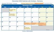 December 2020 Calendar With Holidays Print Friendly December 2020 Romania Calendar For Printing