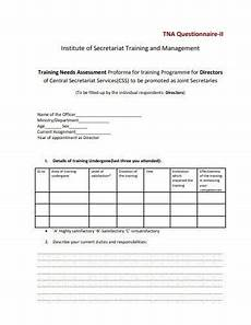 Training Needs Questionnaire Template 4 Training Needs Analysis Questionnaire Templates In Pdf