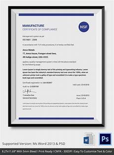 Certificate Of Manufacture Template Certificate Of Compliance Template 12 Word Pdf Psd