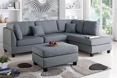 grey fabric sectional sofa and ottoman a sofa