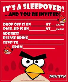 Free Printable Party Invitations For Boys Invitations For Sleepover Party Angry Birds Sleepover