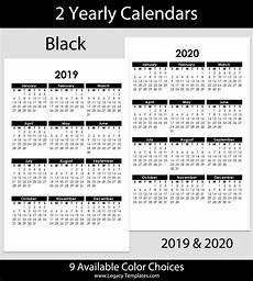 One Page Yearly Calendar 2020 2019 Amp 2020 Yearly Calendar 5 5 X 8 5 Legacy Templates