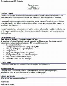 Cvs Examples For Personal Profile Personal Assistant Cv Example Icover Org Uk