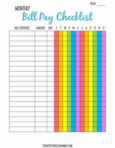 Monthly Bills List Monthly Bill Pay Checklist Free Printable Organizing
