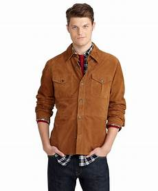 Light Brown Suede Jacket Mens Lyst Brooks Brothers Suede Shirt Jacket In Brown For Men