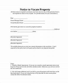 Texas Notice To Vacate Form Free 9 Sample Notice To Vacate Forms In Pdf Ms Word