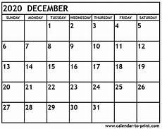 Calendar January December 2020 December 2020 Calendar Printable