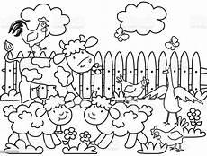 farm animals coloring page stock illustration