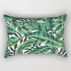 tropical glam banana leaf print rectangular pillow by