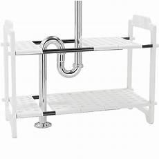 expandable sink storage shelf in sink organizers