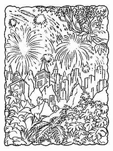 dibujo para colorear fuegos artificiales sobre la ciudad