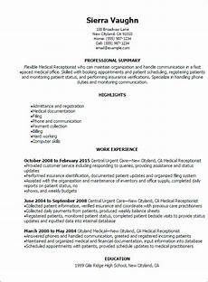 Receptionist Job Resumes Professional Medical Receptionist Resume Templates To