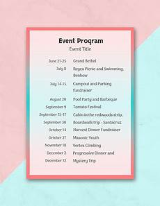 Program Of Events Sample Free 25 Program Examples In Pdf Ai Pages Google
